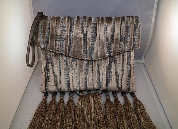 Silver velvet and tassels clutch bag