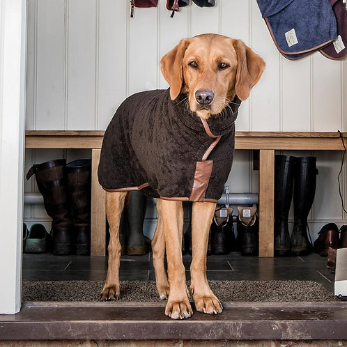 Country Dog Drying Coat (faux leather trim)