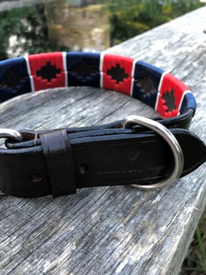 Polo Dog Collars Red Blue and White Stripe