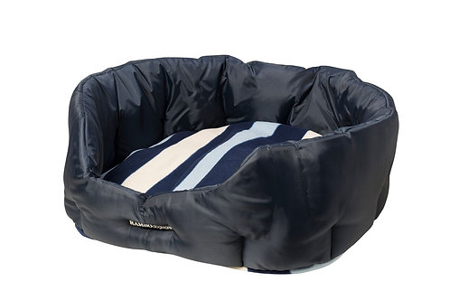 HORSEWARE RAMBO DOG BED NAVY/WHITNEY FLEECE CUSHION