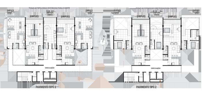 plantas torre habitacional