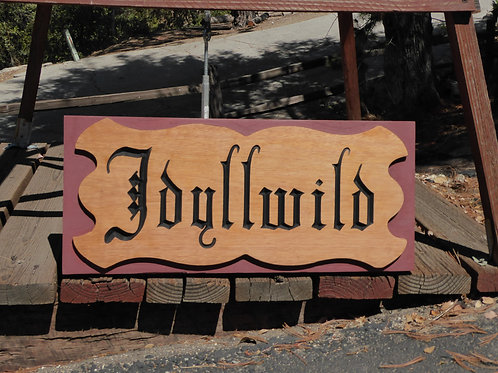 Personalized carved gothic style name sign