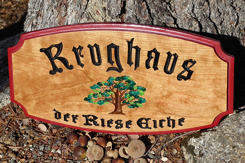 Carved Wooden Family Sign with Tree Detail