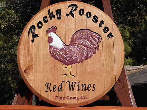 Rocky Rooster Red Wines Carved Reclaimed Oak Whiskey Barrel Lid