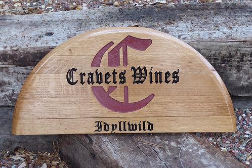 Carved 1/2 Oak Whiskey Barrel Lid