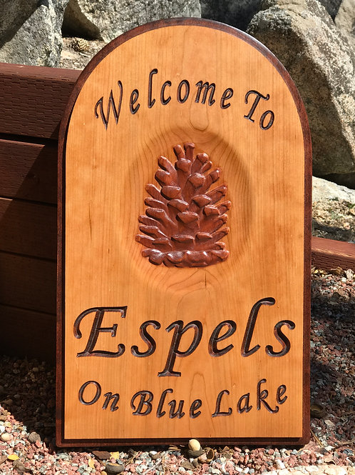 Personalized carved family cabin sign with large carved pine cone - cherry wood