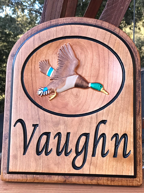 Personalized hardwood duck plaque
