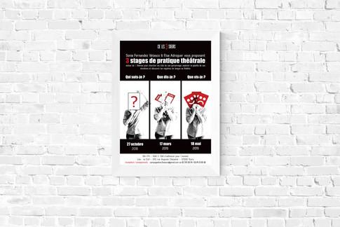 Affiche pour des stages de théâtre de la Compagnie Les 3 Soeurs