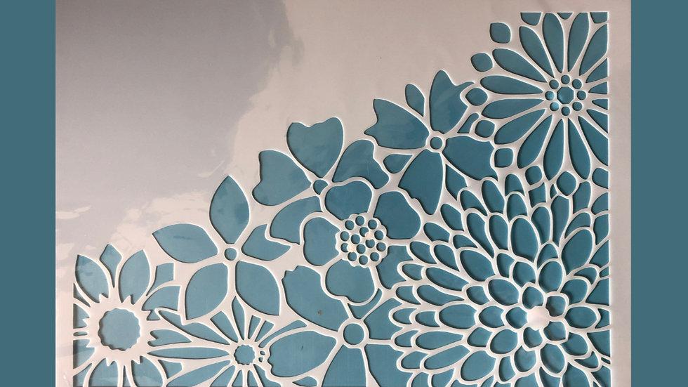 Large Stencil Flower Corner
