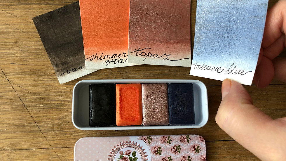 VOLCANIC 4 Set Handmade Watercolors in a cute tin
