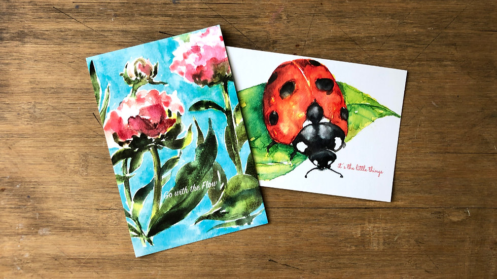 Post cards set of 6 Ladybug +Peonies