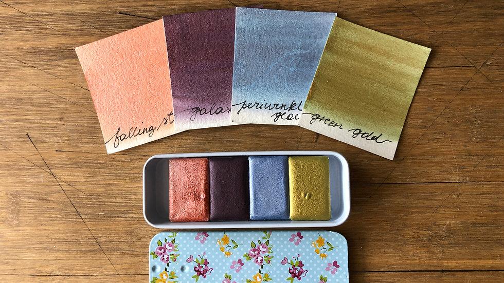 GALAXY MINI 4 Set Handmade Watercolors in a cute tin