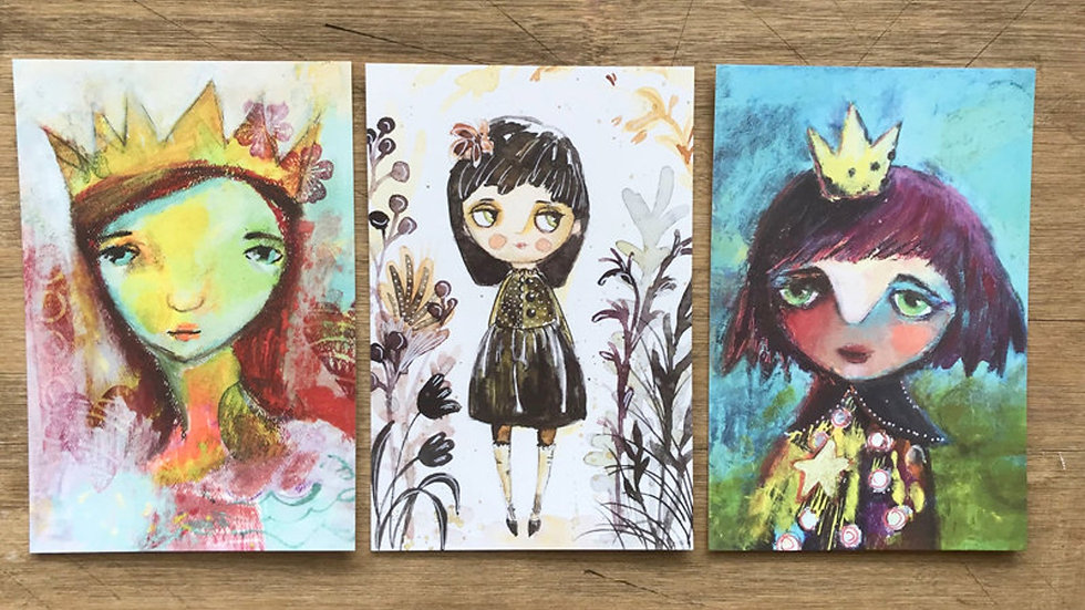 Post cards set of 6 prints Unspoken Little Treasures and Hope