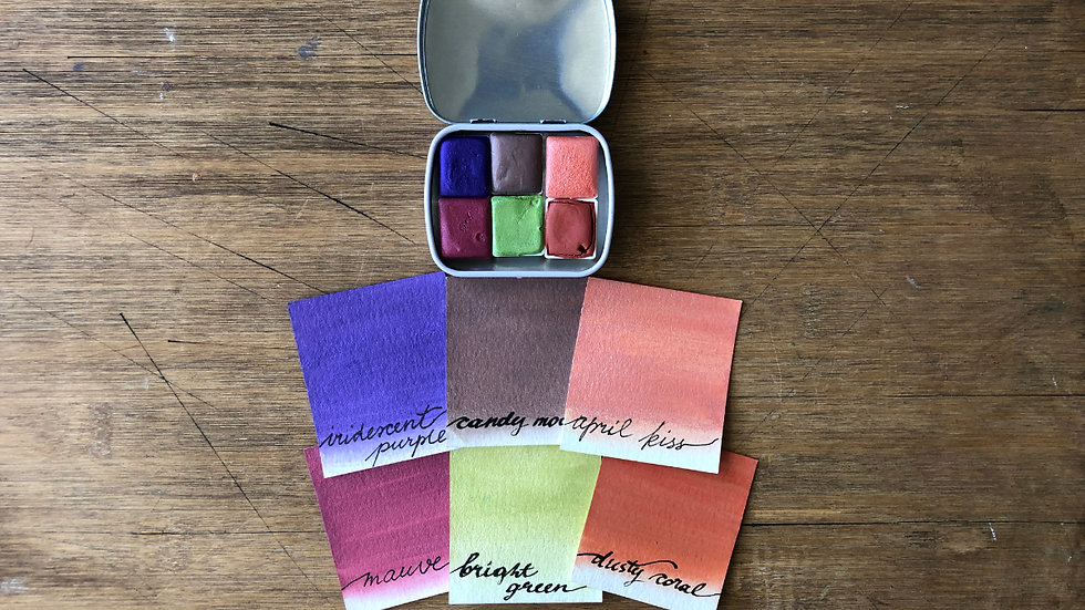 SUMMER TEA PARTY I Set 6 half pans handmade watercolors
