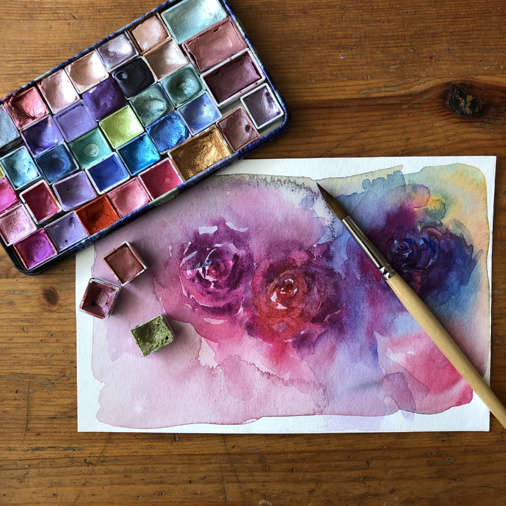 Painting luminous roses with handmade shimmer watercolors