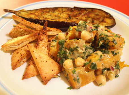 Warm Squash & Chickpea Salad with Tahini Lemon Dressing