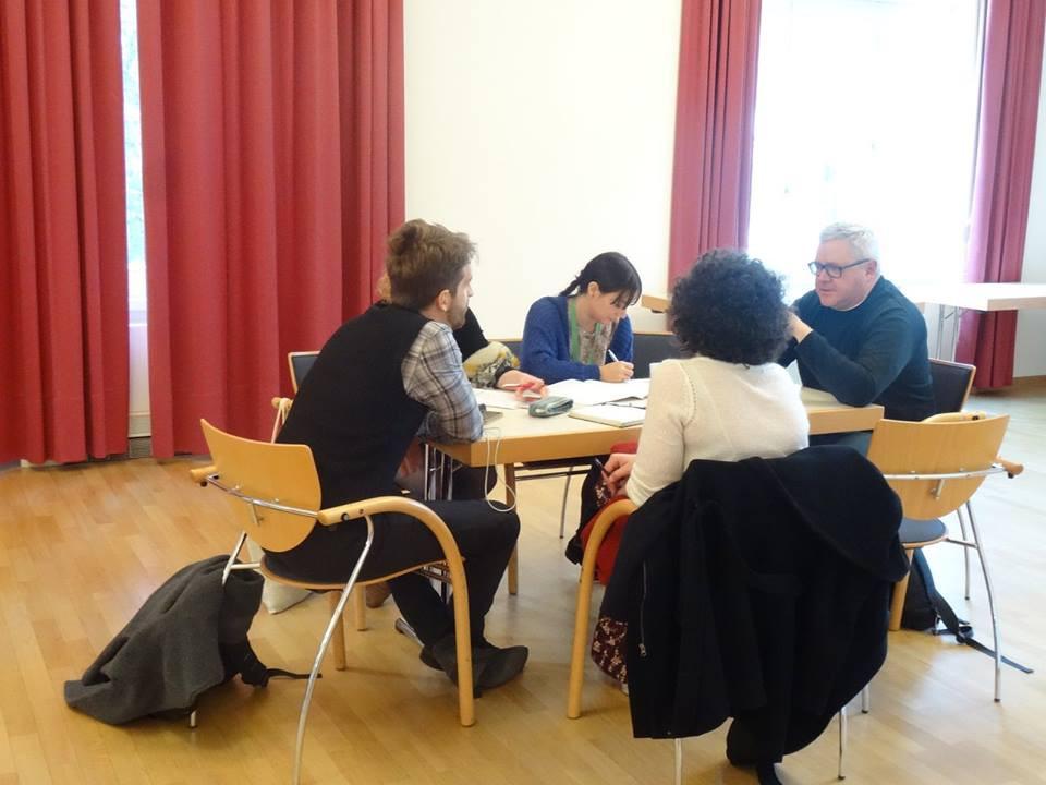 Mentor Merczynski, Director of Malta Festival Poland, in conversation with some participants.