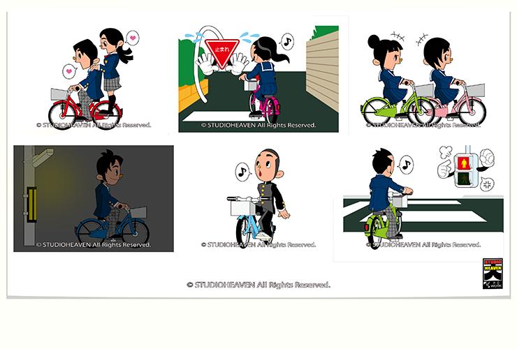 AIU保険自転車事故イラスト2 / Work39