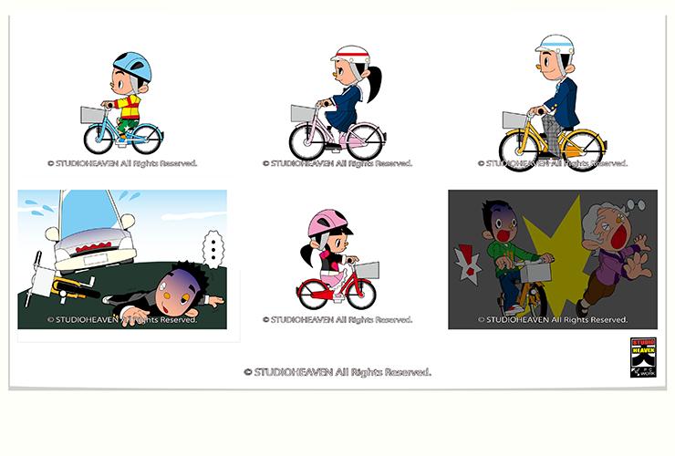 AIU保険自転車事故イラスト3 / Work40