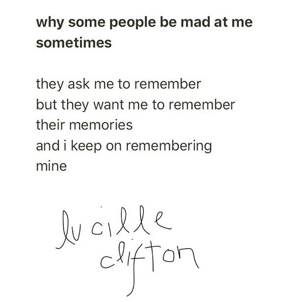 Write about This!: Lucille Clifton Poem