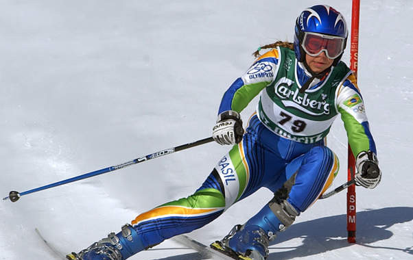 Racing the Giant Slalom at the St. Moritz 2003 FIS Alpine Ski World Championships