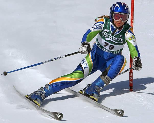 Racing the Giant Slalom at the St. Moritz 2003 FIS Alpine Ski World Championships