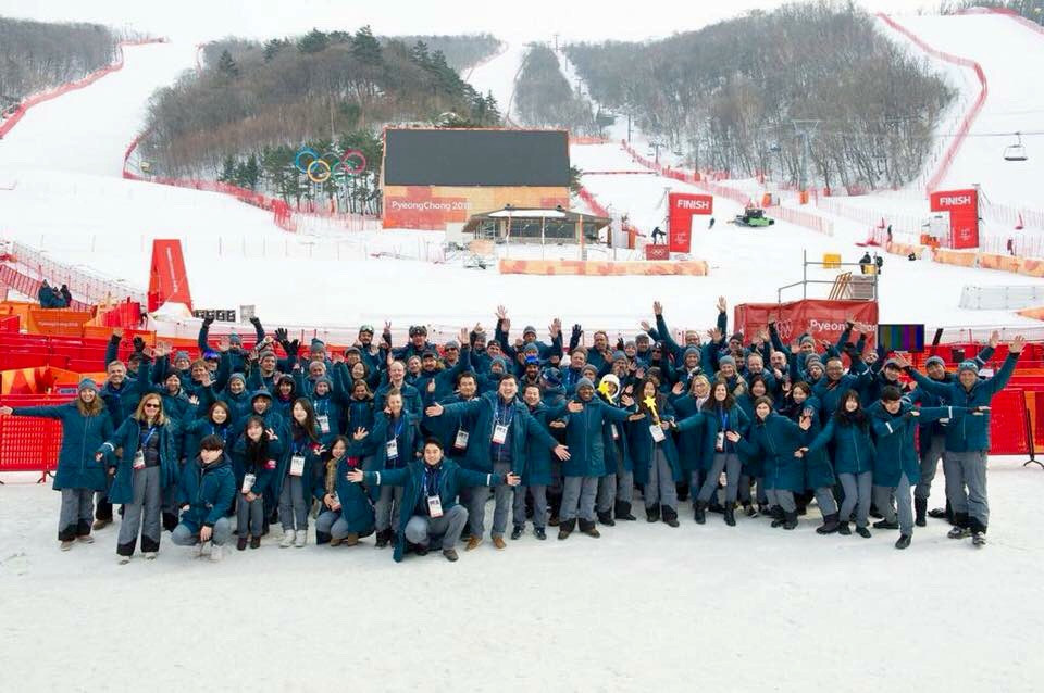 With the OBS Team at the Alpine Skiing technical events' venue - Yongpyong Alpine Centre (YAL)