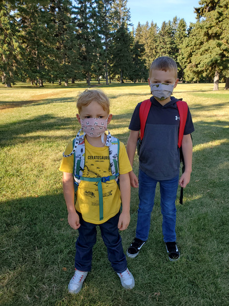 Saskatoon September 8, 2020  First day of school photo - with masks.