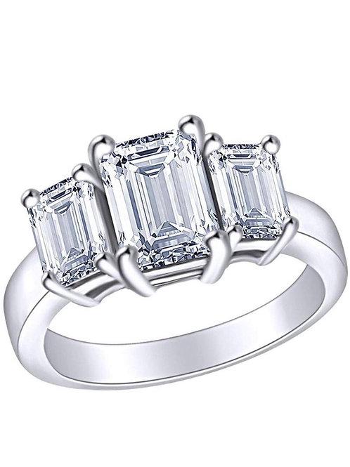 Bague en or blanc 18 karat sertie de 3 diamants taille emeraude modèle TRIO