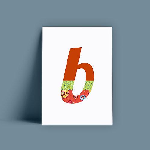 שלושה פרינטים של אות מעוצבת - b
