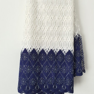 White & Navy blue Lace Fabric