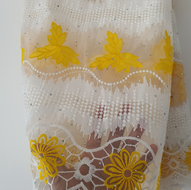 Yellow & White Lace material