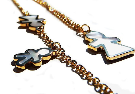Long Necklace 18ct gold / mother of pearl