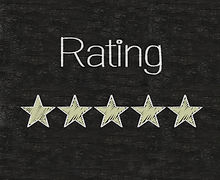 Five stars ratings web yellow written on