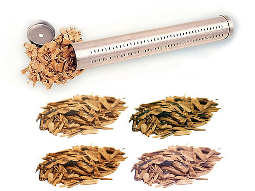 Udící trubice + dřevěné lupínky - sada