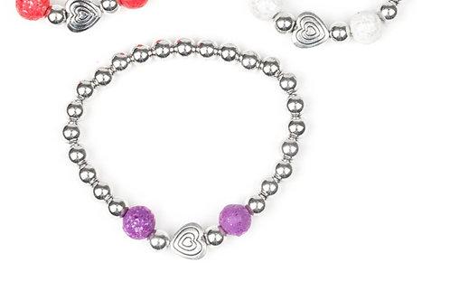 Starlight Shimmer Beaded Bracelet - Purple
