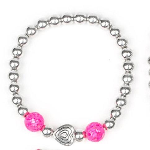 Starlight Shimmer Beaded Bracelet - Pink