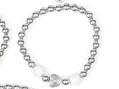 Starlight Shimmer Beaded Bracelet - White