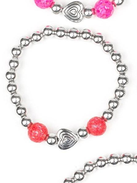 Starlight Shimmer Beaded Bracelet - Red
