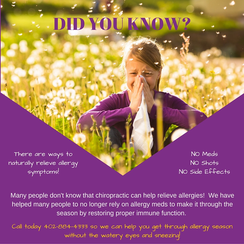 Chiropractic can help with Allergies.  Dont suffer this allergy season.  Natural allergy treatment.