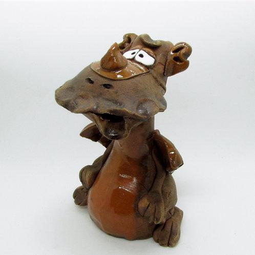 Ceramic Brown Dragon Incense Burner