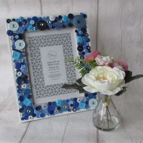 Hand-decorated Button Photo Frame Blue