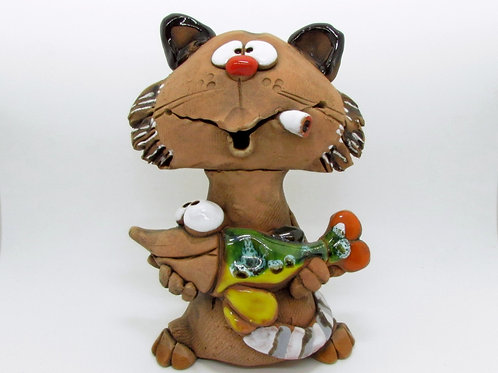 Ceramic Cat with a Fish Incense Cone Burner