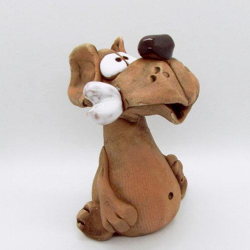 Ceramic Dog with a Bone Figurine