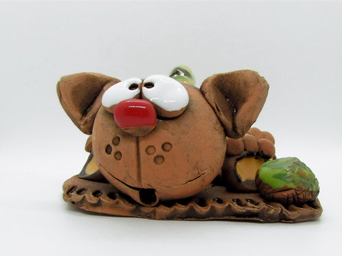 Ceramic Cat with a Ball Figurine