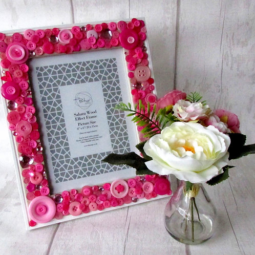 Hand-decorated Button Photo Frame Pink