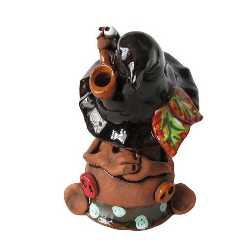 Ceramic Sleeping Gnome Incense Cone Burner