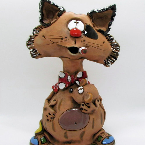 Large Cat Incense Cone Burner