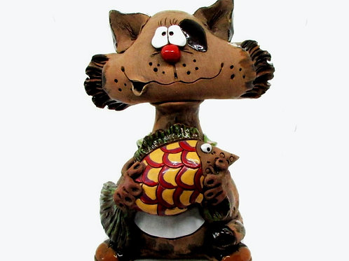 Cat with a Fish Big Money Bank
