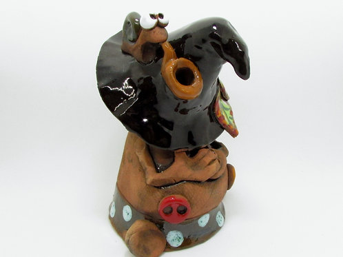 Ceramic Sleeping Gnome Incense Cone Burner